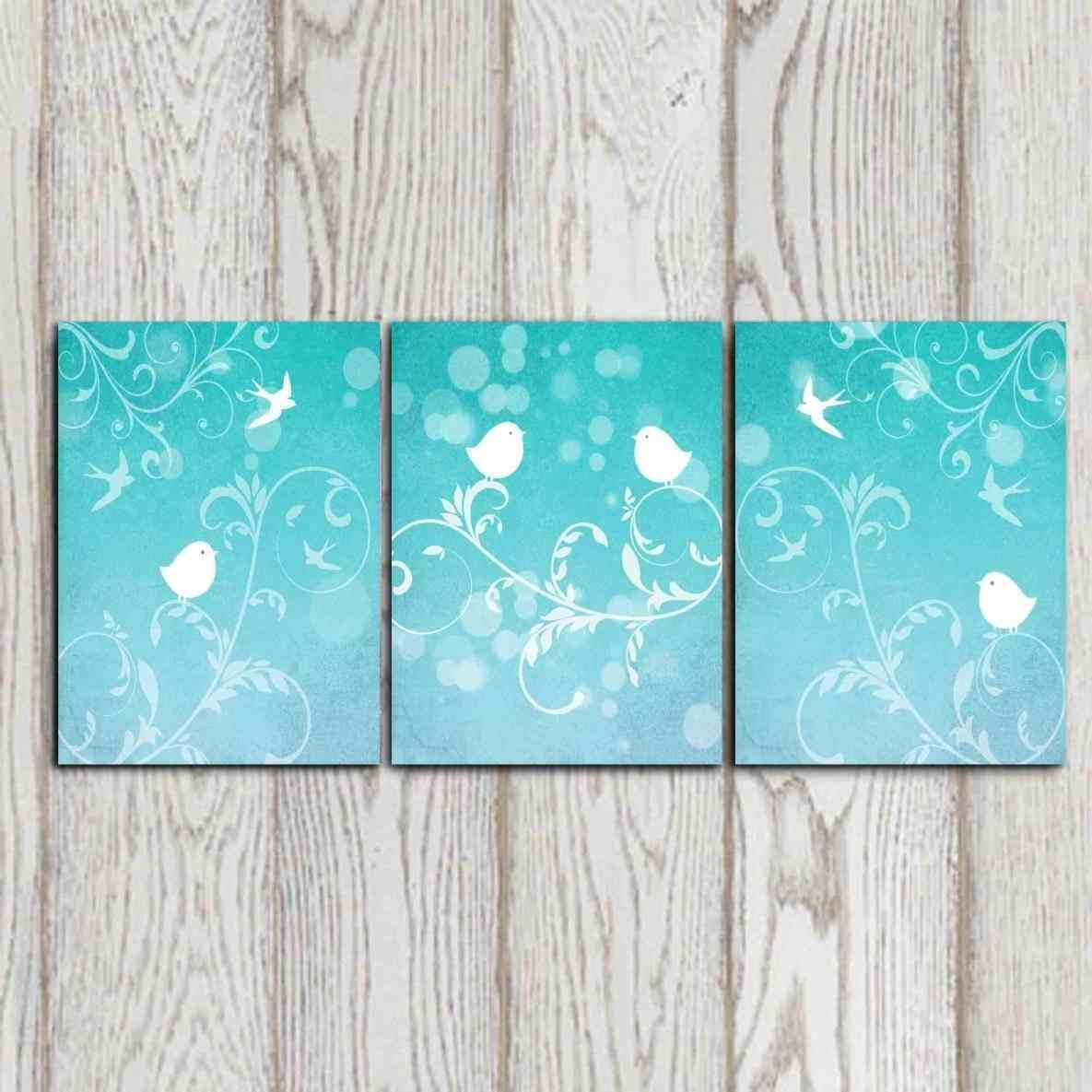 Set Turquoise And Grey Wall Art Of Bird Art Prints Turquoise Wall Regarding Most Current Turquoise Wall Art (View 11 of 20)