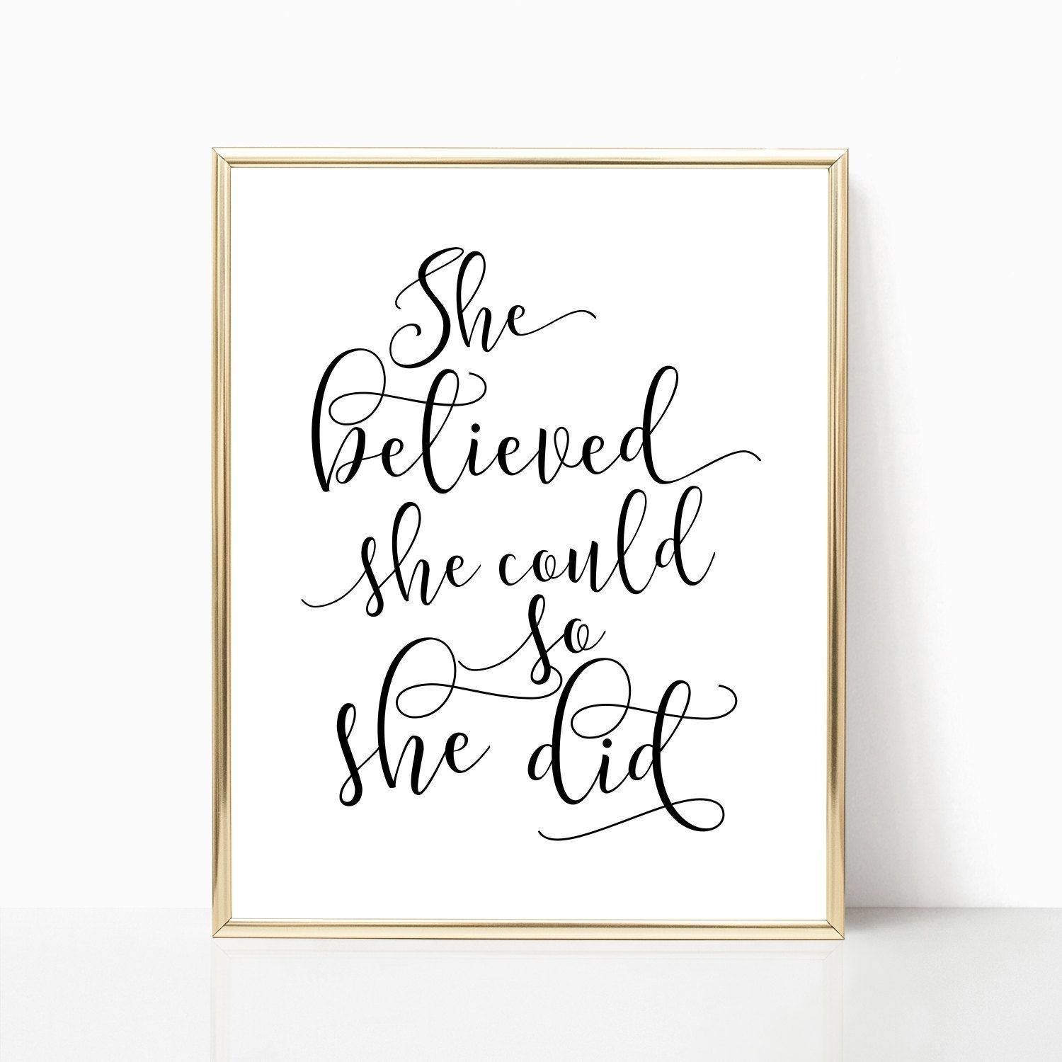 She Believed She Could So She Did Printable Art Girls Room Decor Regarding Newest She Believed She Could So She Did Wall Art (View 12 of 20)