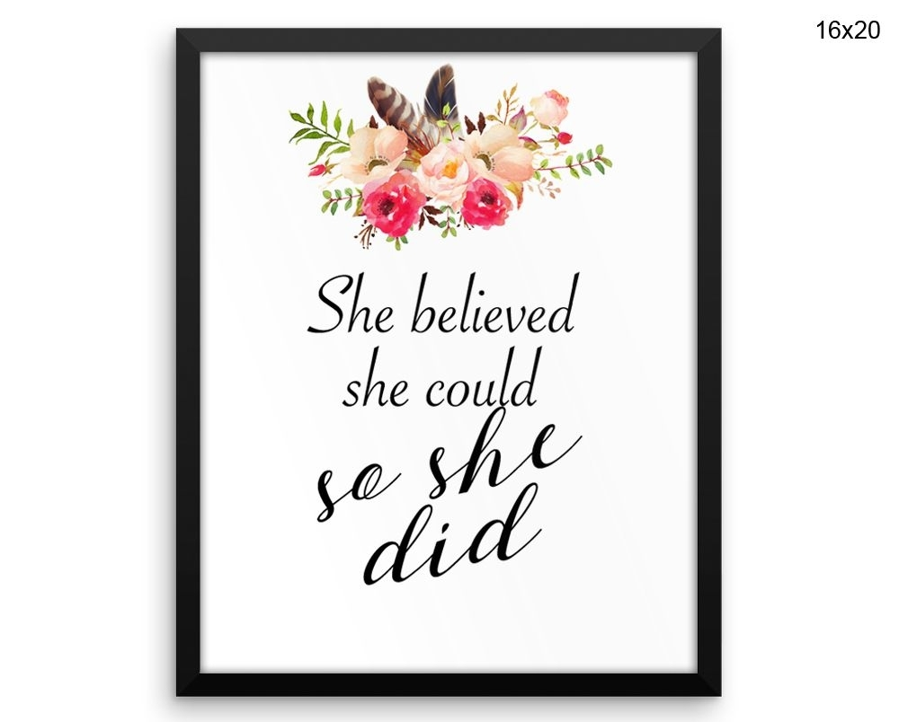 She Believed She Could So She Did Wall Art Framed She Believed She In Current She Believed She Could So She Did Wall Art (View 14 of 20)