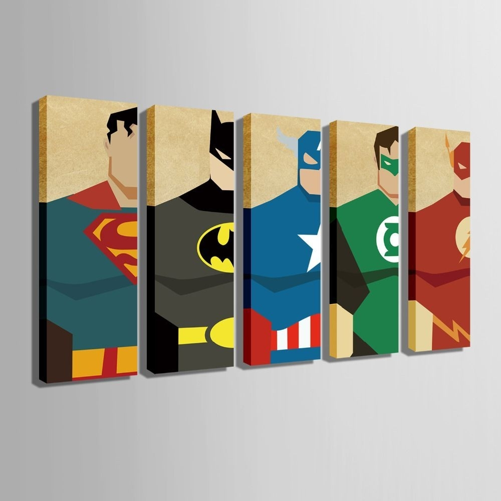 Shocking Ehome Stretched Canvas Art Super Hero Decoration Painting With Regard To Most Current Superhero Wall Art (Gallery 2 of 20)