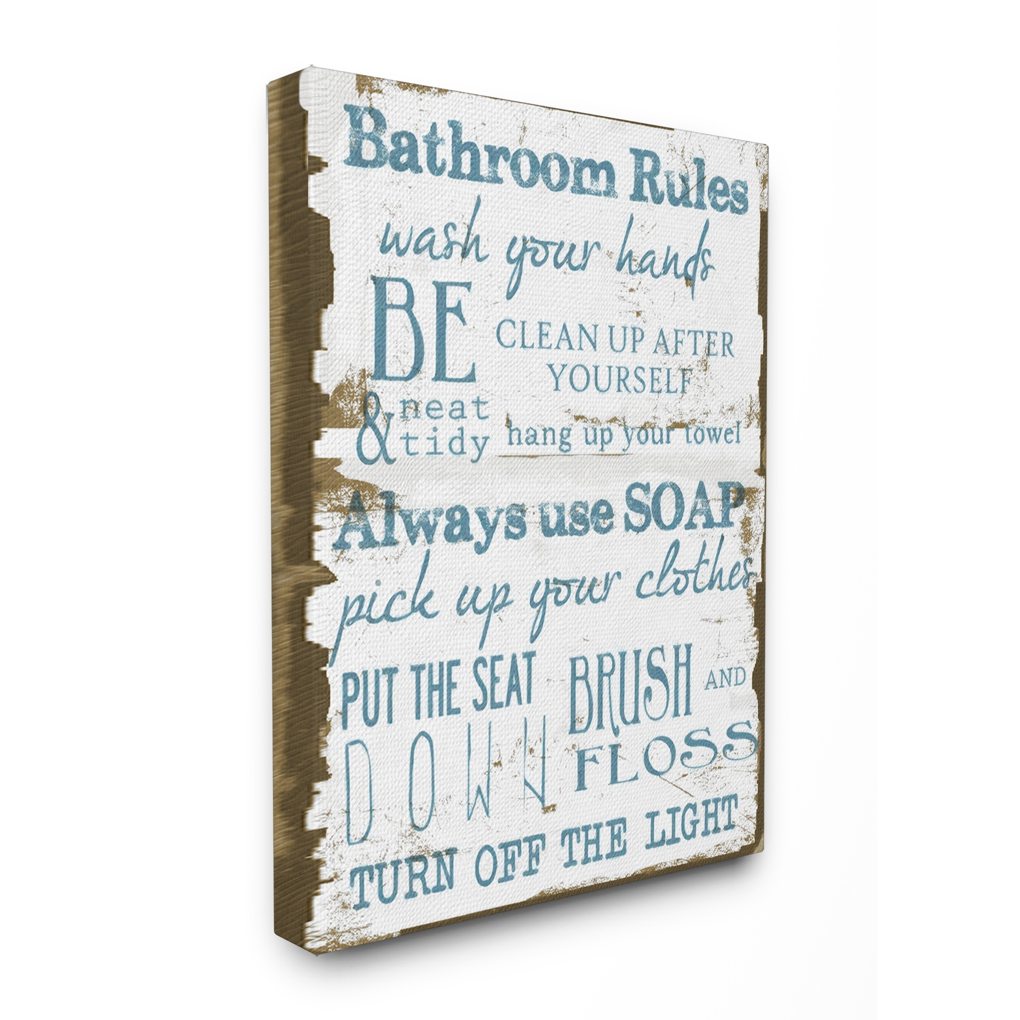 Shop 'bathroom Rules' Brown And Blue Stretched Canvas Wall Art – 16 With Regard To 2018 Bathroom Rules Wall Art (View 4 of 20)