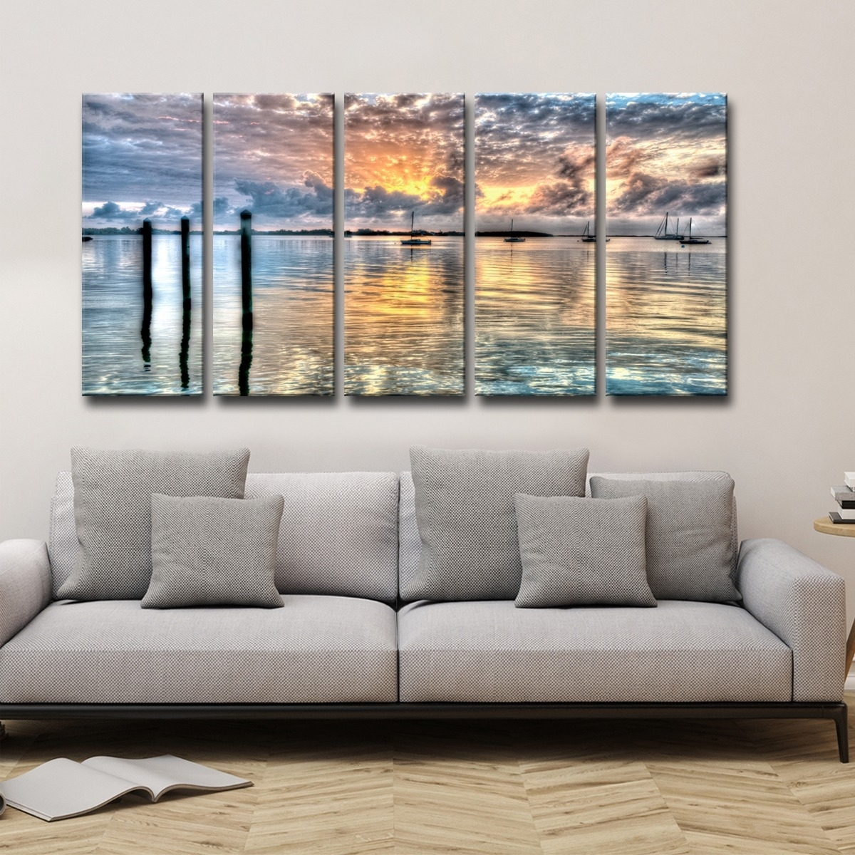 Shop Bruce Bain 'calm Waters' 5 Piece Canvas Wall Art – Free Intended For Current Five Piece Canvas Wall Art (Gallery 10 of 20)