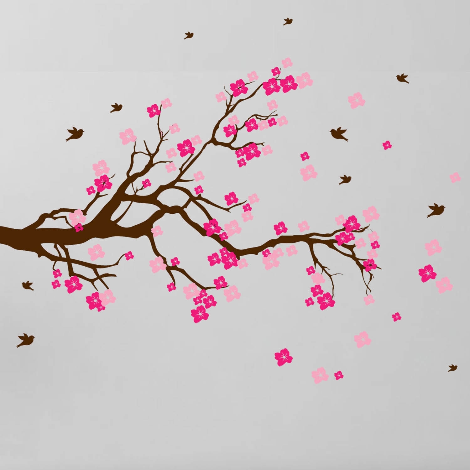 Shop Cherry Blossom Branch With Birds Vinyl Wall Art Decal – Free For Most Recent Cherry Blossom Wall Art (View 20 of 20)