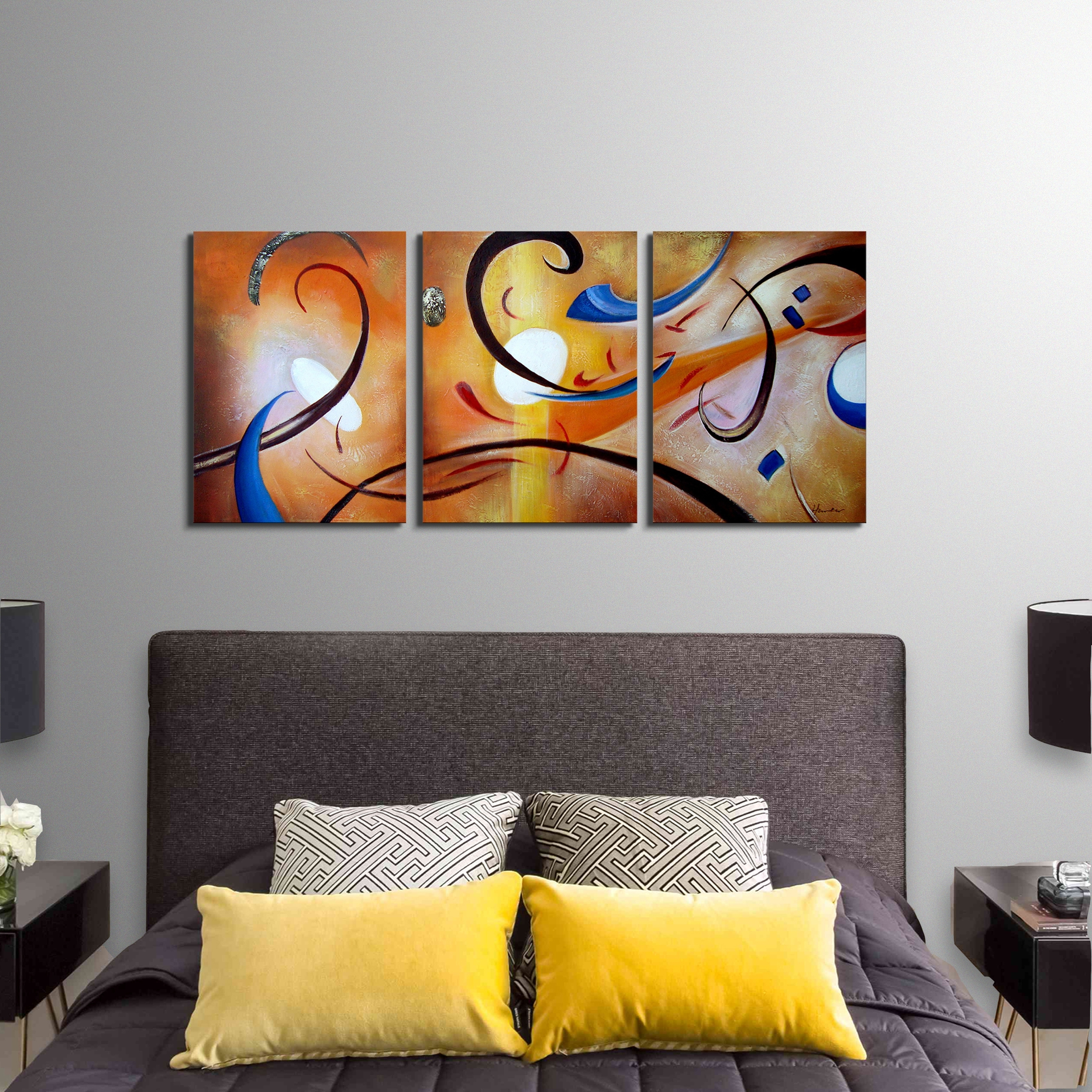 Shop Clay Alder Home Happiness Abstract' Hand Painted Gallery Intended For Current Overstock Wall Art (View 15 of 20)