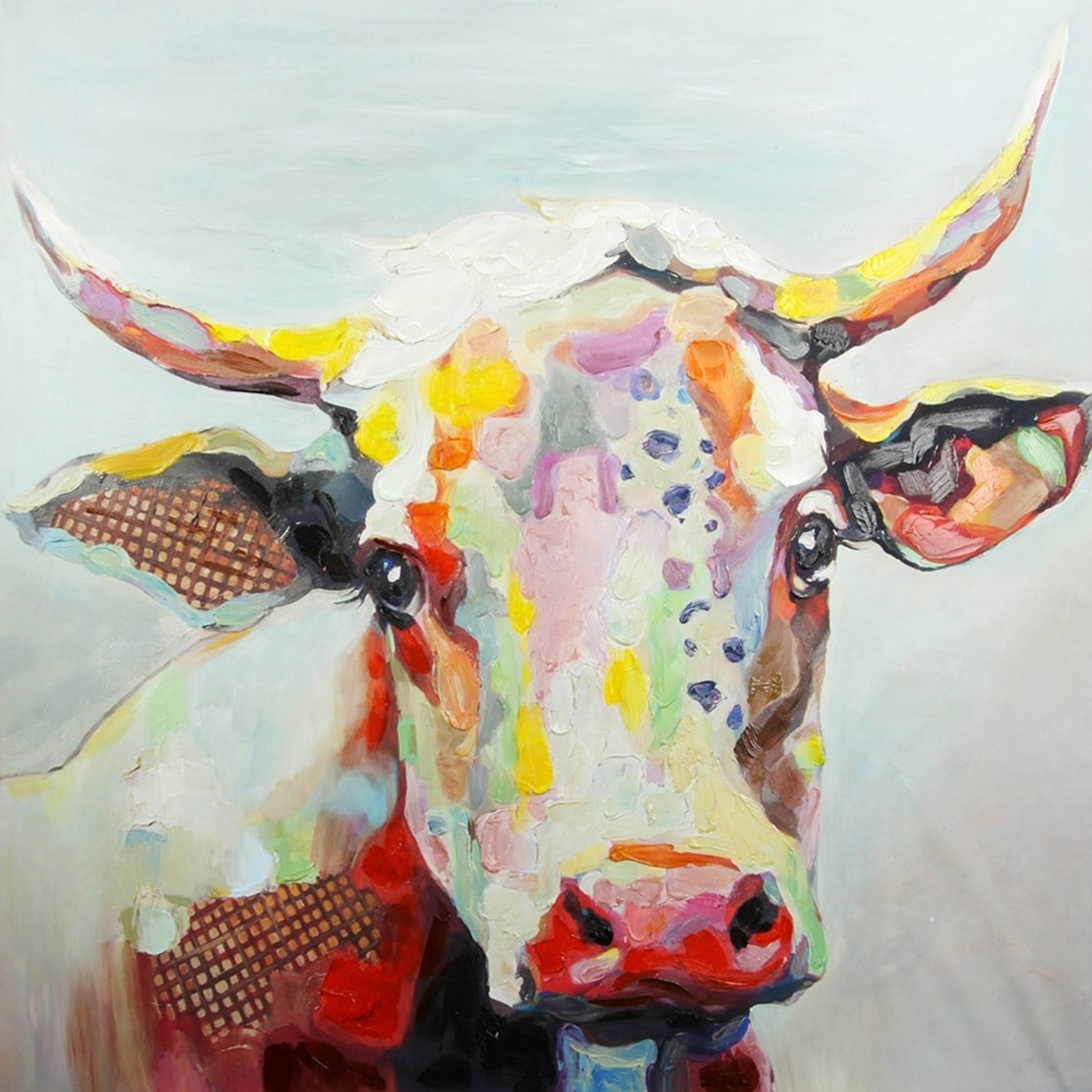 Shop Colorful Cow Printed Canvas Wall Art – Free Shipping Today For Most Recently Released Cow Canvas Wall Art (Gallery 16 of 20)