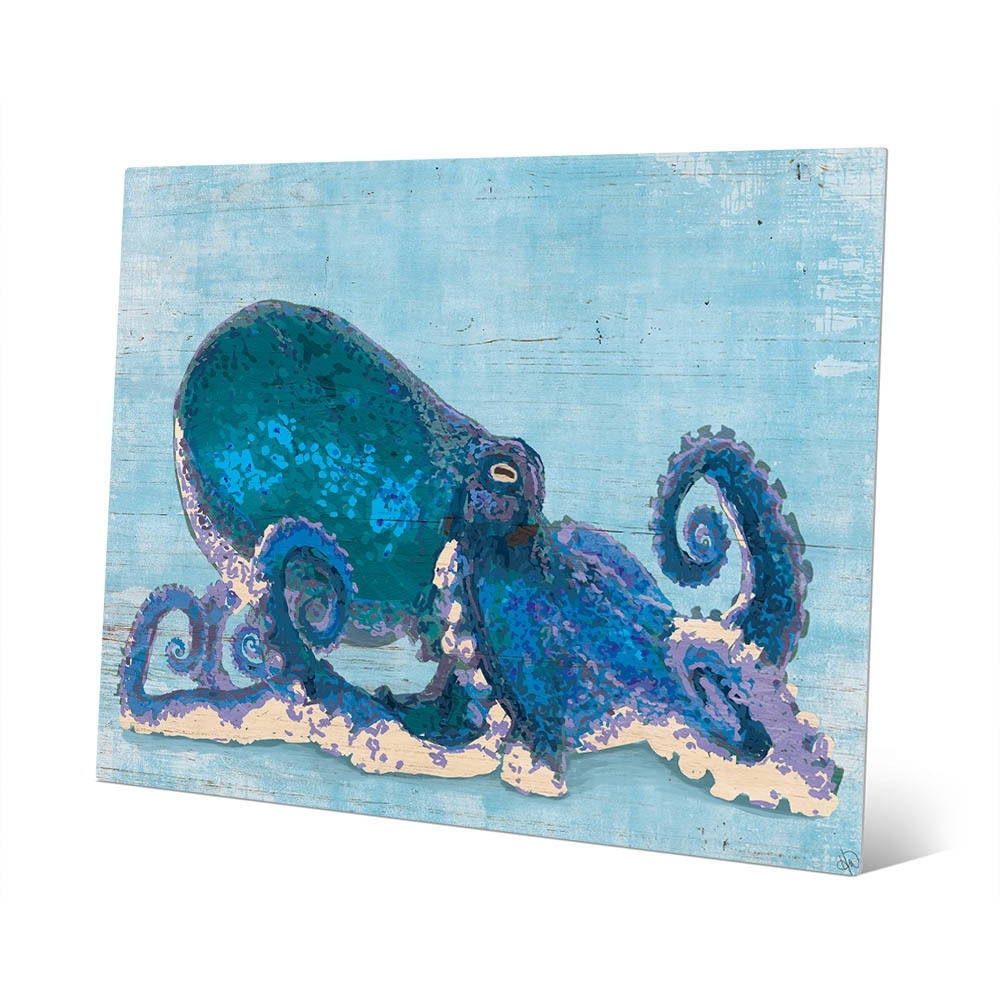 Shop Dat Cool Blue Octopus Wall Art Print On Metal – On Sale – Free In Latest Octopus Wall Art (View 18 of 20)