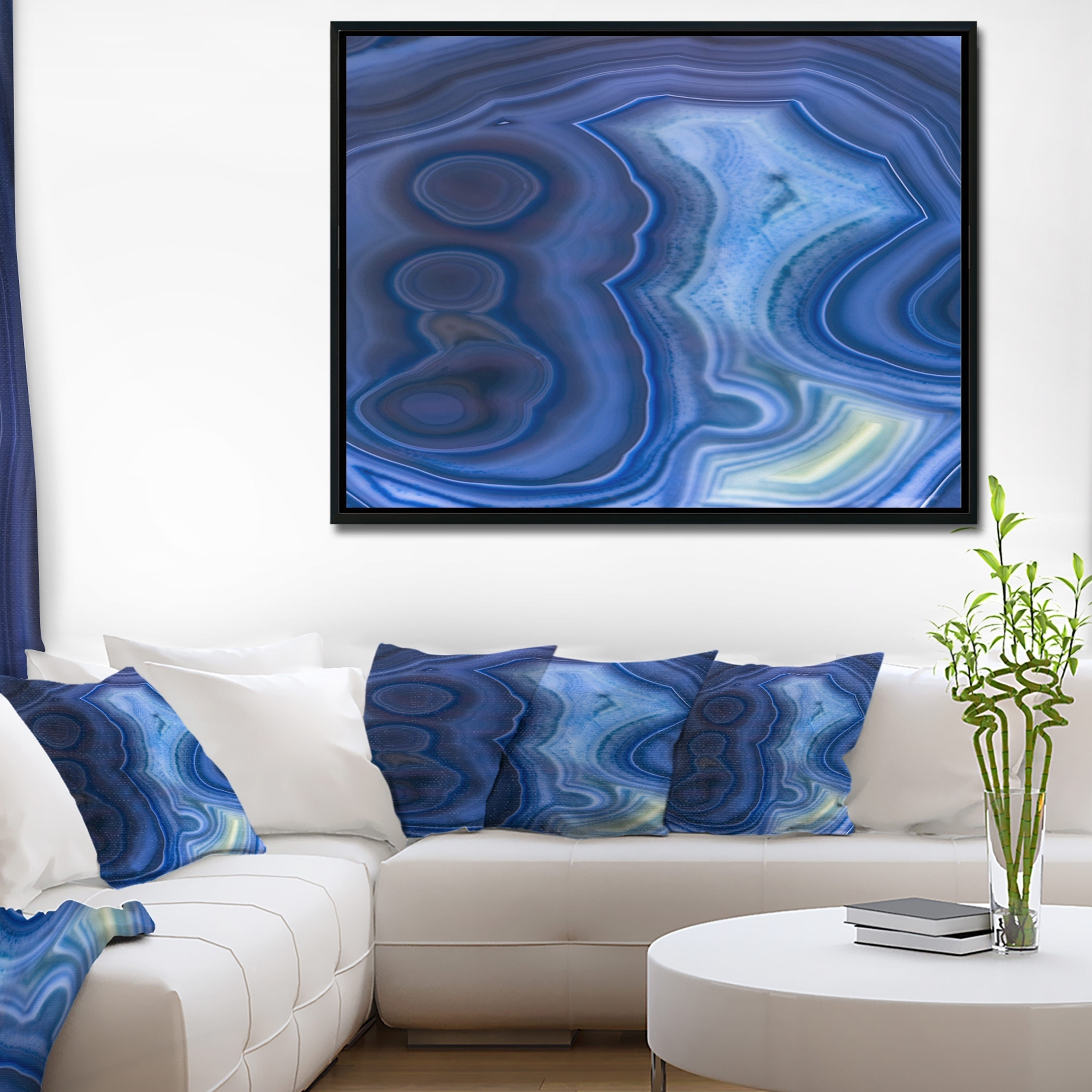 Shop Designart 'blue Agate Stone Design' Abstract Framed Canvas Wall Throughout Recent Agate Wall Art (View 6 of 20)