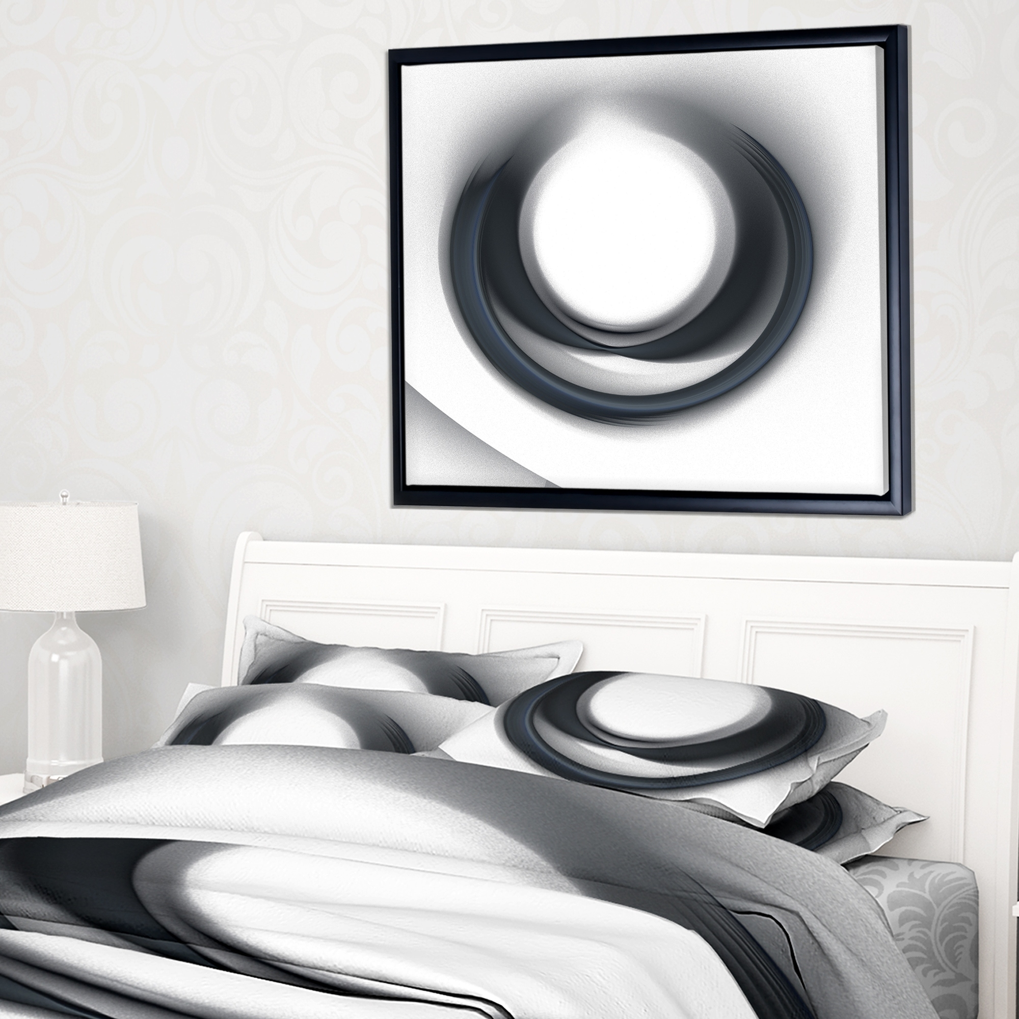 Shop Designart 'large Fractal Black Circle On White' Abstract Wall In Newest Circle Wall Art (View 4 of 20)