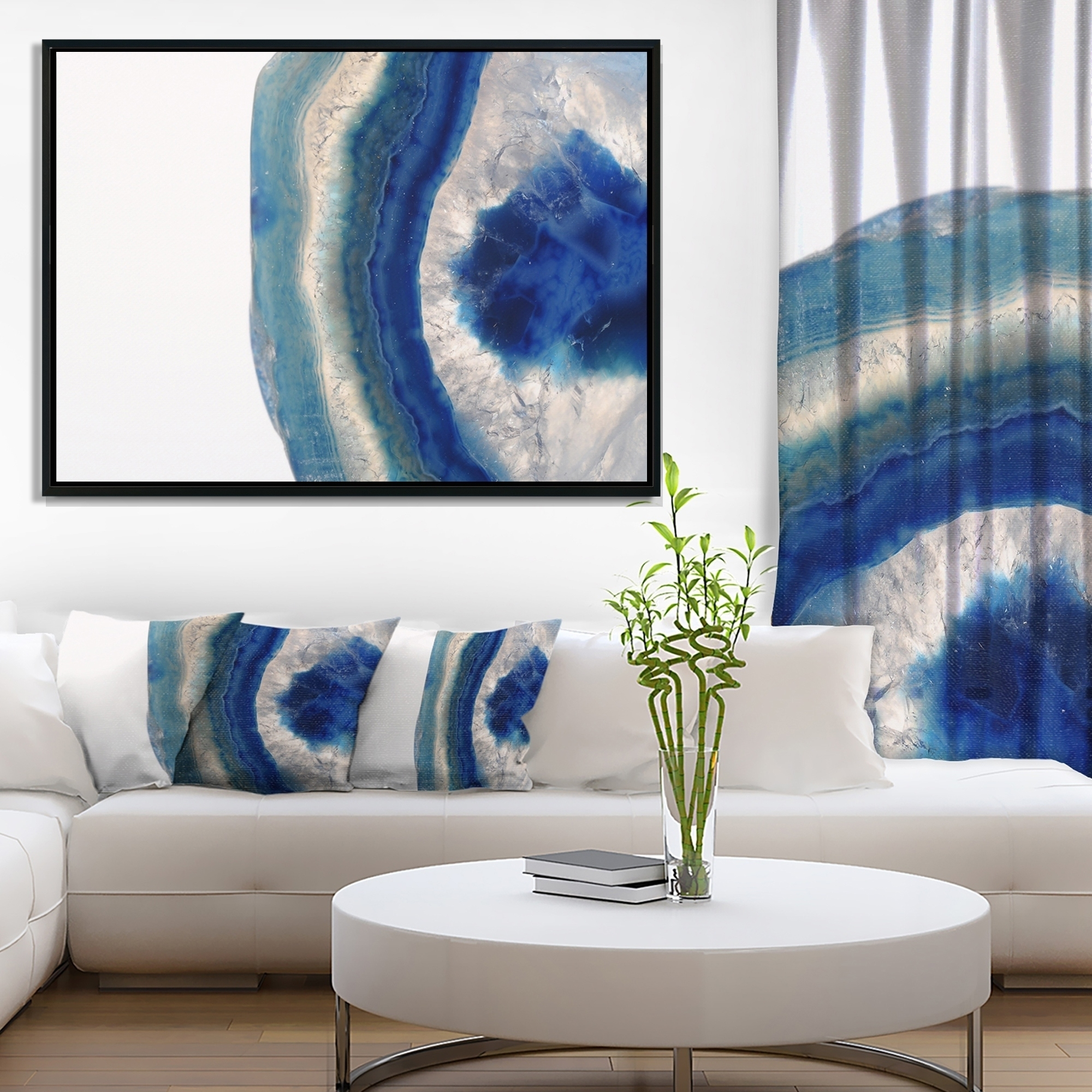 Shop Designart 'macro Of Blue Agate Stone' Abstract Framed Canvas With Best And Newest Agate Wall Art (View 19 of 20)