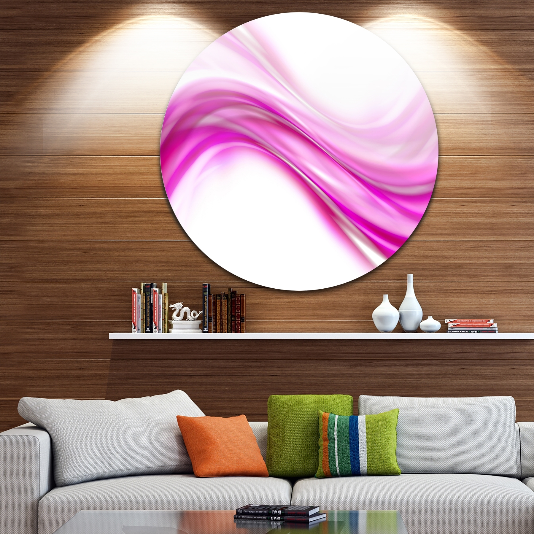 Shop Designart 'pink Abstract Waves' Abstract Digital Art Circle With Regard To Most Recent Circle Wall Art (View 12 of 20)