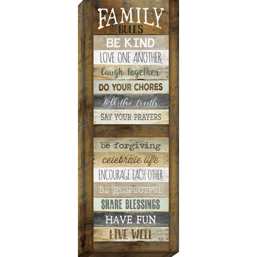 Shop Family Rules Print On Canvas At Lowes Within Most Current Family Rules Wall Art (View 15 of 20)