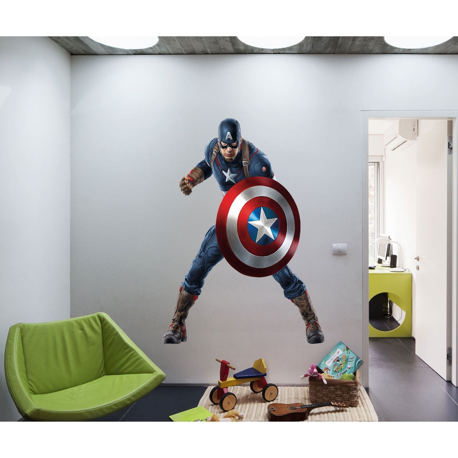 Shop Full Color Superhero Captain America Sticker, Decal, Wall Art Within Newest Captain America Wall Art (View 8 of 15)