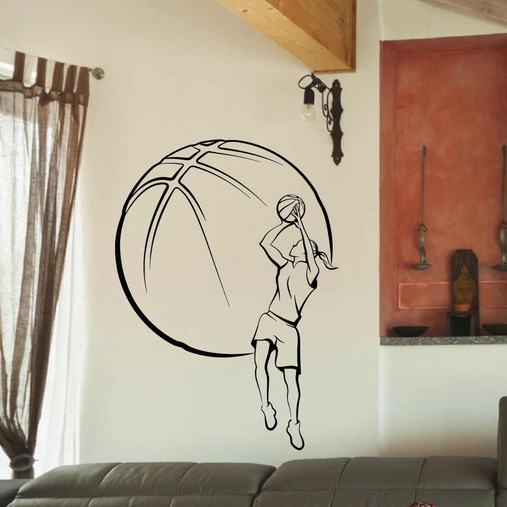 Shop Girl Basketball Vinyl Wall Art Decal Sticker – Free Shipping On With Regard To Current Basketball Wall Art (View 15 of 15)