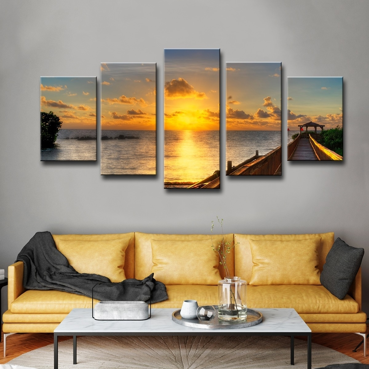 Shop Havenside Home Key's Sunrise' 5 Piece Set Canvas Wall Art Regarding Recent Overstock Wall Art (View 16 of 20)