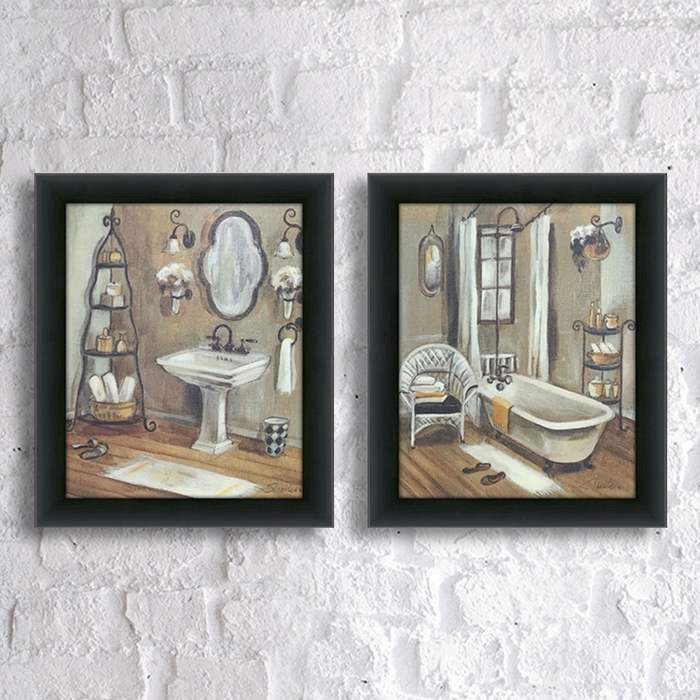 "Shop Maison Rouge Holmes ""bathroom 3"" Framed & Canvassed Wall Art Pertaining To Latest Set Of 2 Framed Wall Art (View 15 of 20)"