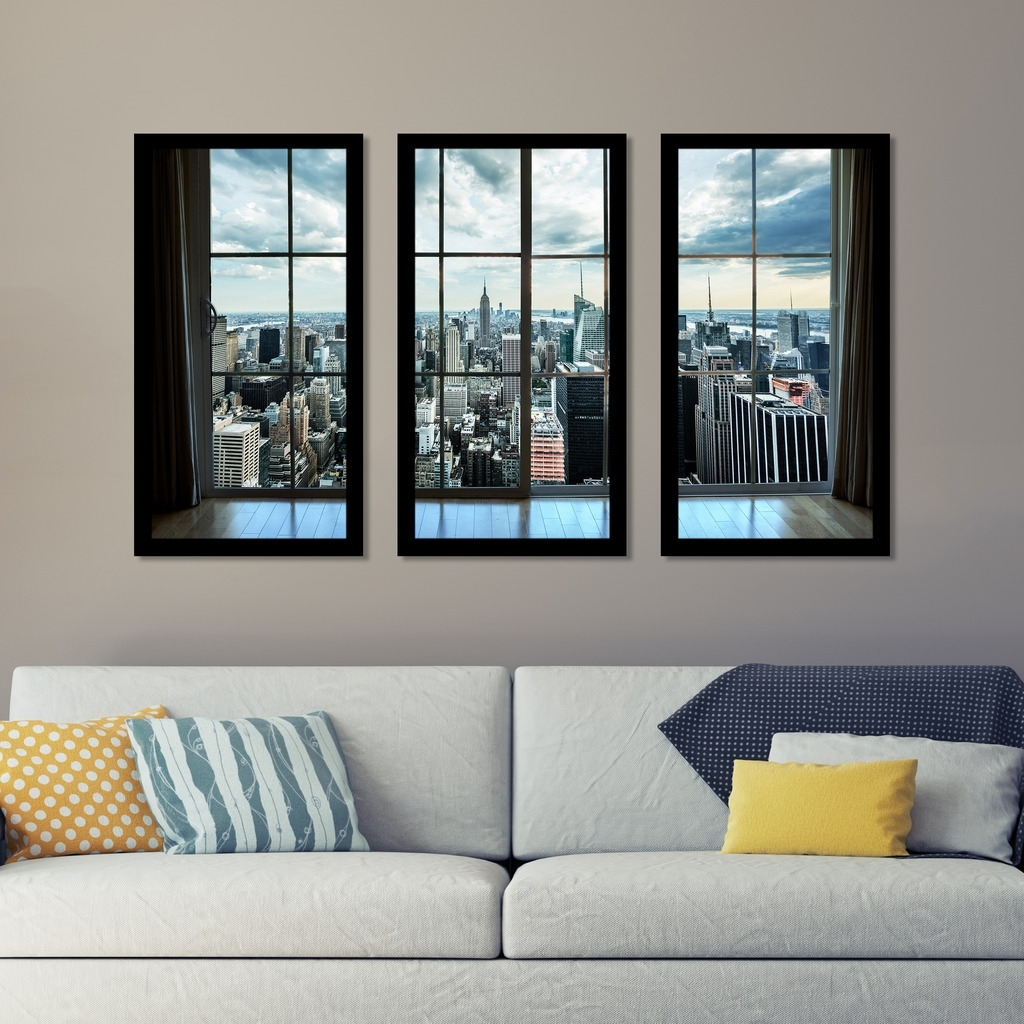"Shop "" Newyork Window"" Framed Plexiglass Wall Art Set Of 3 – On Sale In Newest Window Frame Wall Art (View 12 of 15)"