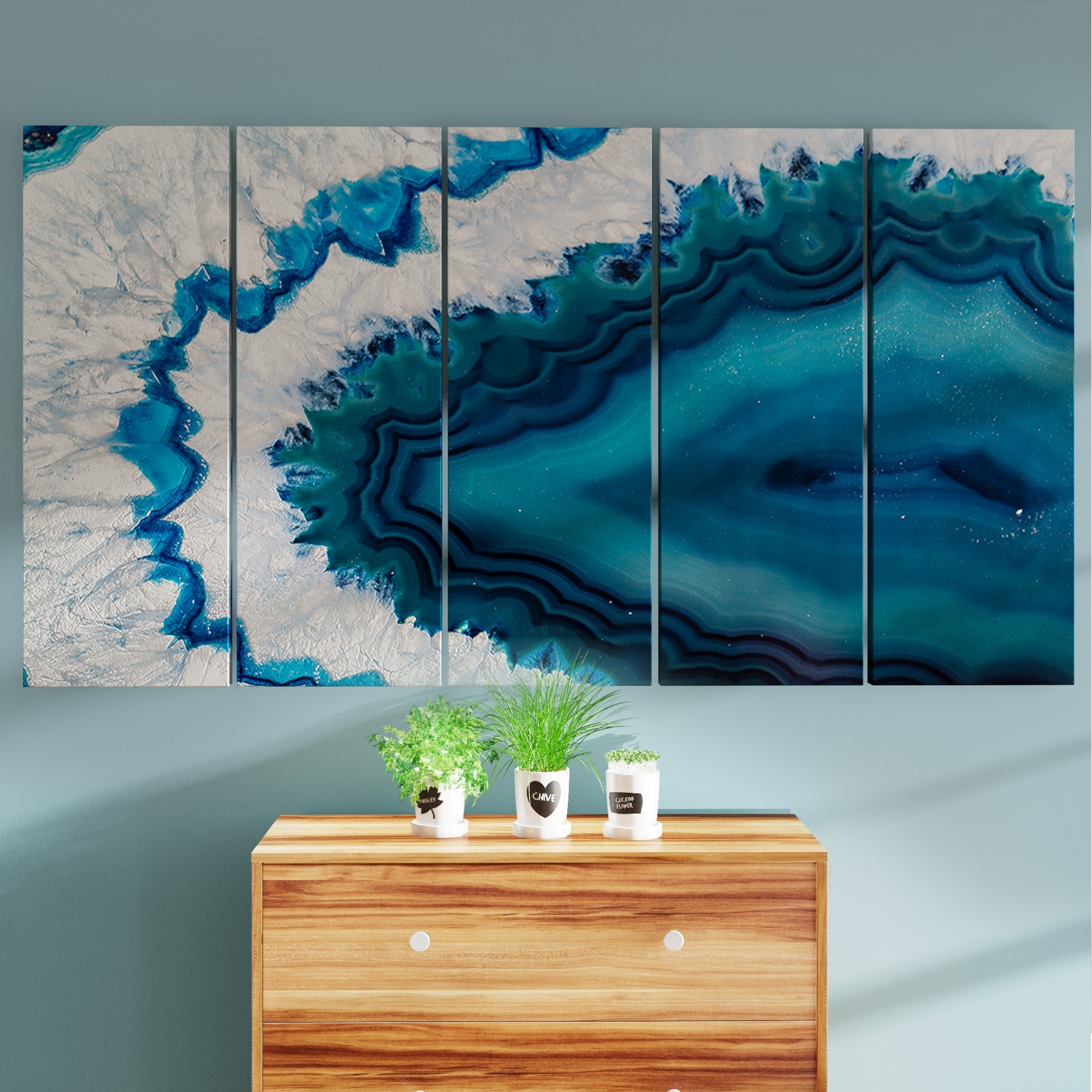 Shop Porch & Den Blue Brazilian Geode' Abstract Canvas Wall Art With Most Recent Overstock Wall Art (View 17 of 20)