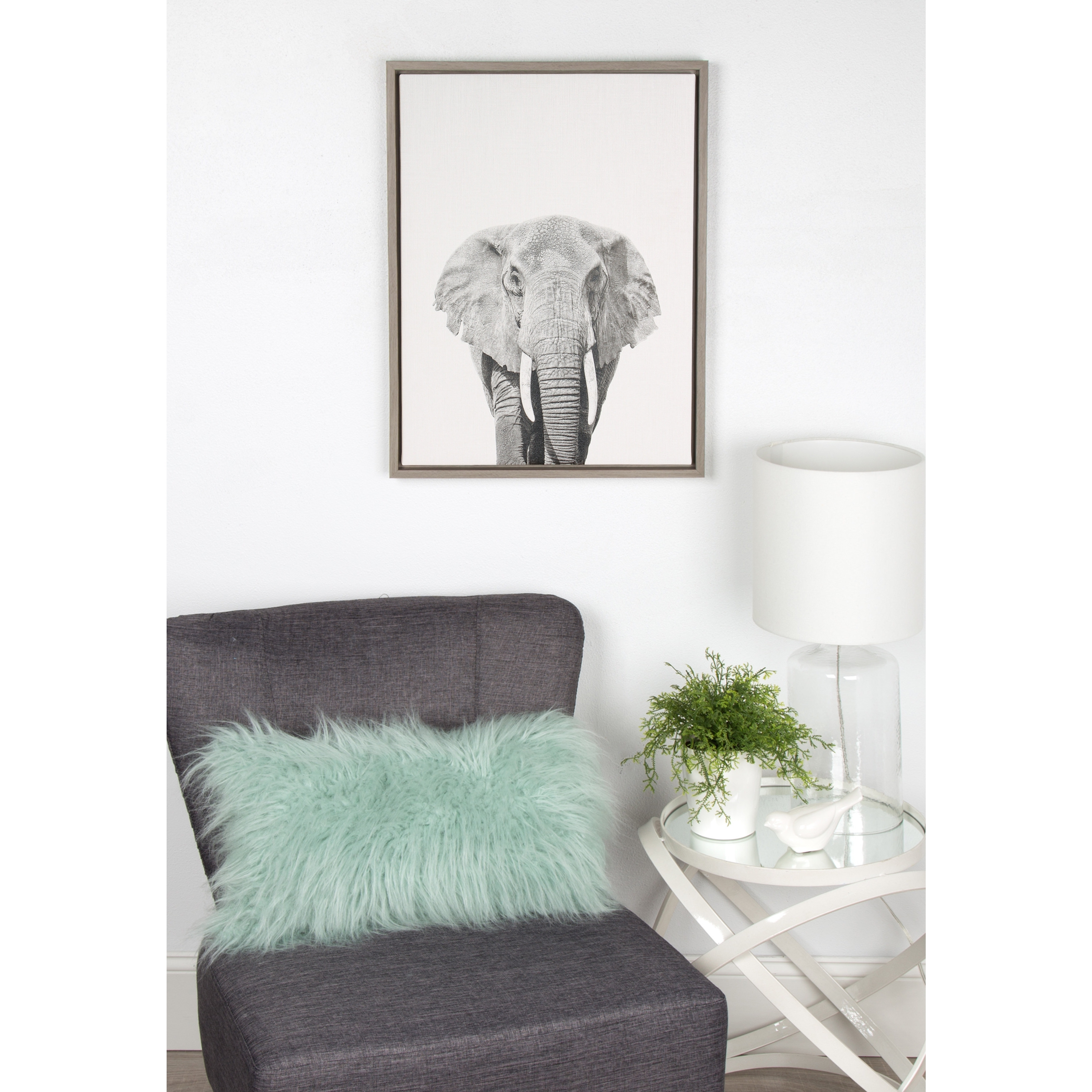 Shop Simon Te Tai Designovation 'sylvie Elephant' Canvas Wall Art In Current Grey Wall Art (View 20 of 20)