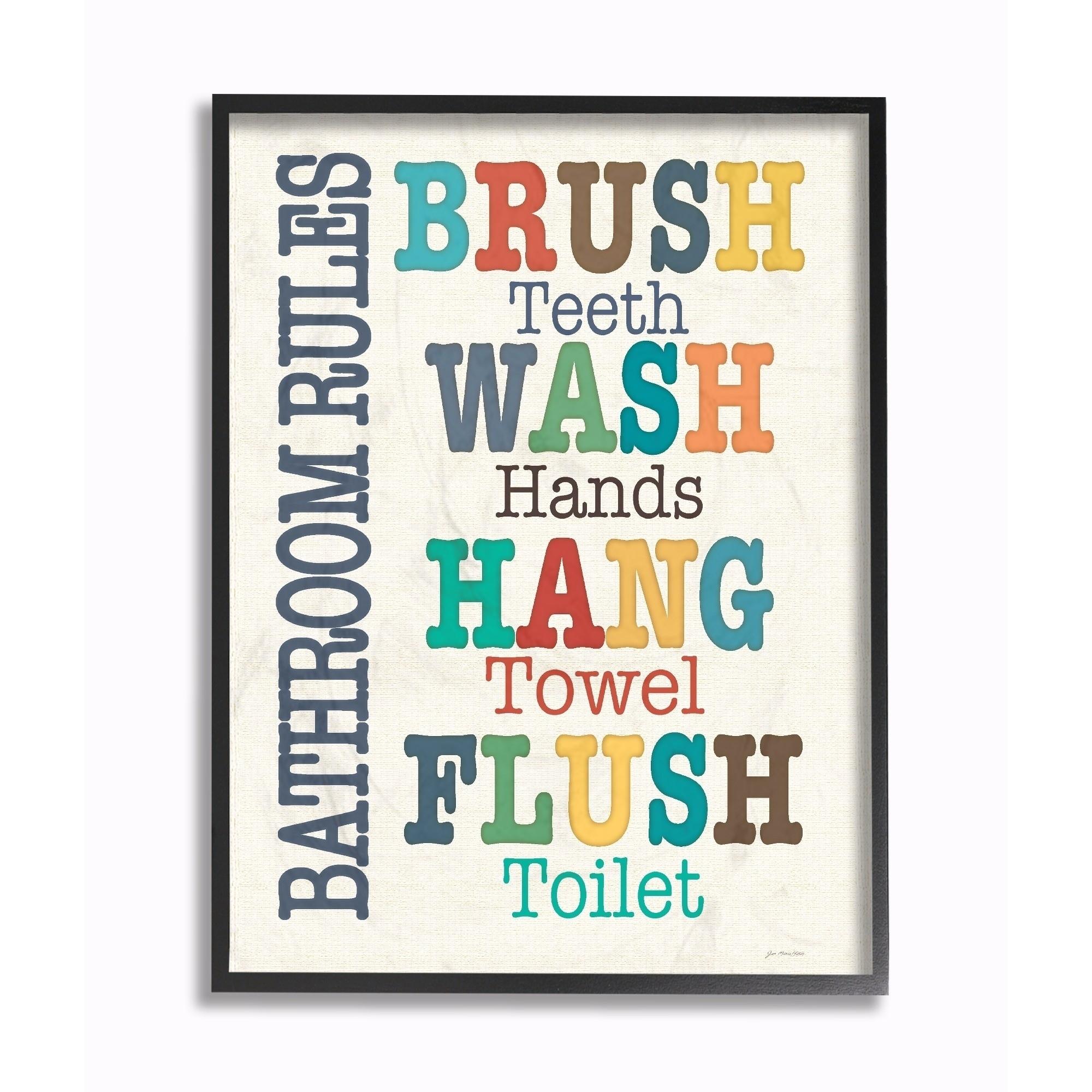 Shop Stupell Industries Colorful Bathroom Rules Typog Art Wall Art Regarding 2017 Bathroom Rules Wall Art (Gallery 20 of 20)