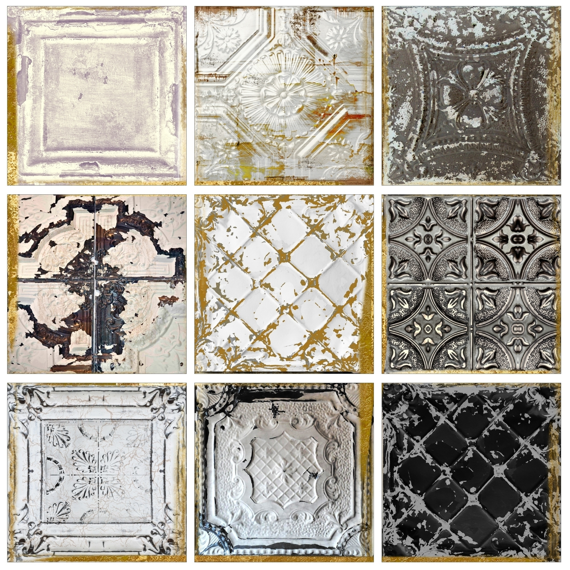 Shop Stupell Industries Vintage Tin Tiles 9pc Canvas Wall Art Set Inside Most Current Tile Canvas Wall Art (View 14 of 20)