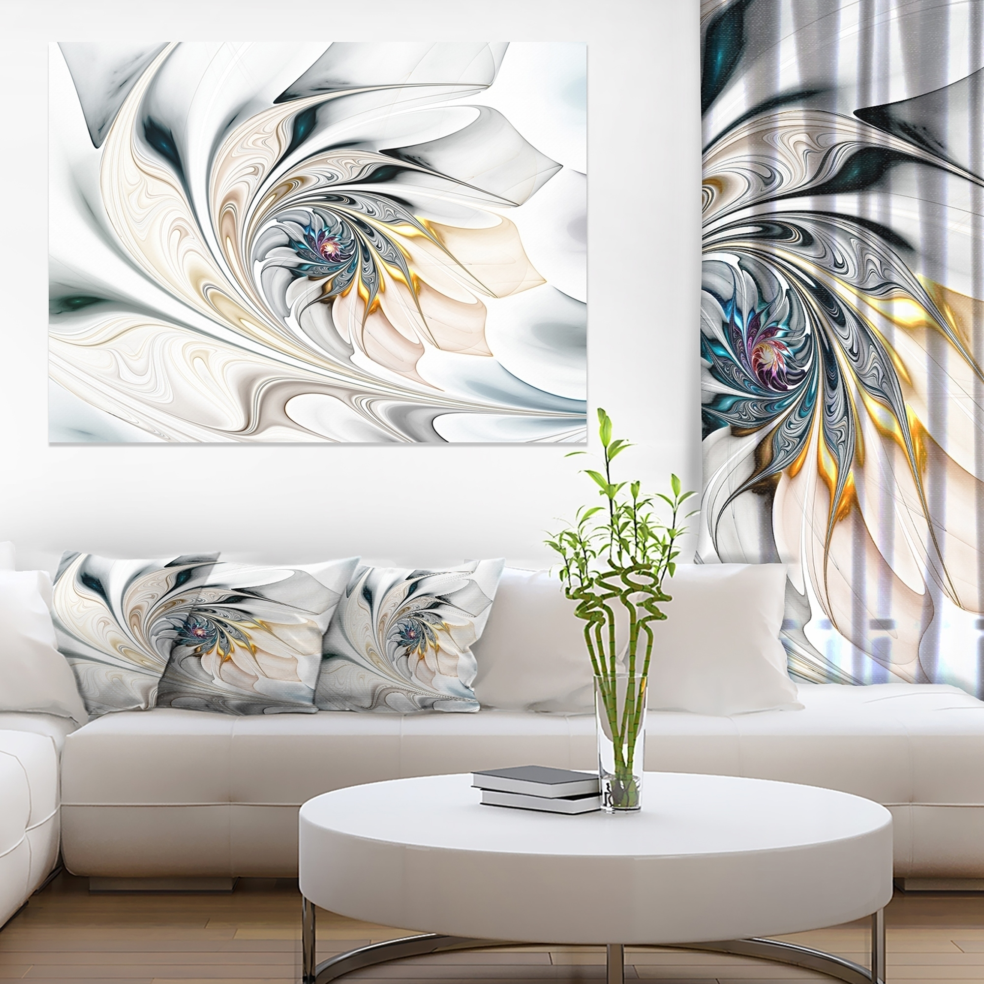 Shop White Stained Glass Floral Art – Large Floral Wall Art Canvas For Recent Stained Glass Wall Art (Gallery 15 of 20)
