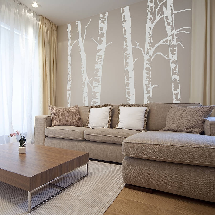 Silver Birch Trees Vinyl Wall Stickeroakdene Designs Regarding Newest Birch Tree Wall Art (View 15 of 20)