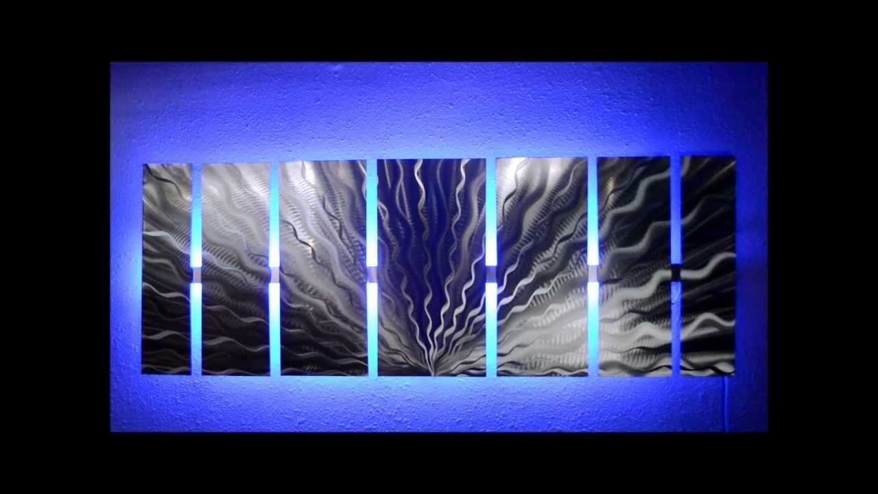Silver Vibration Led Lighted Metal Wall Artbrian M Jones – Youtube For Best And Newest Lighted Wall Art (View 12 of 20)