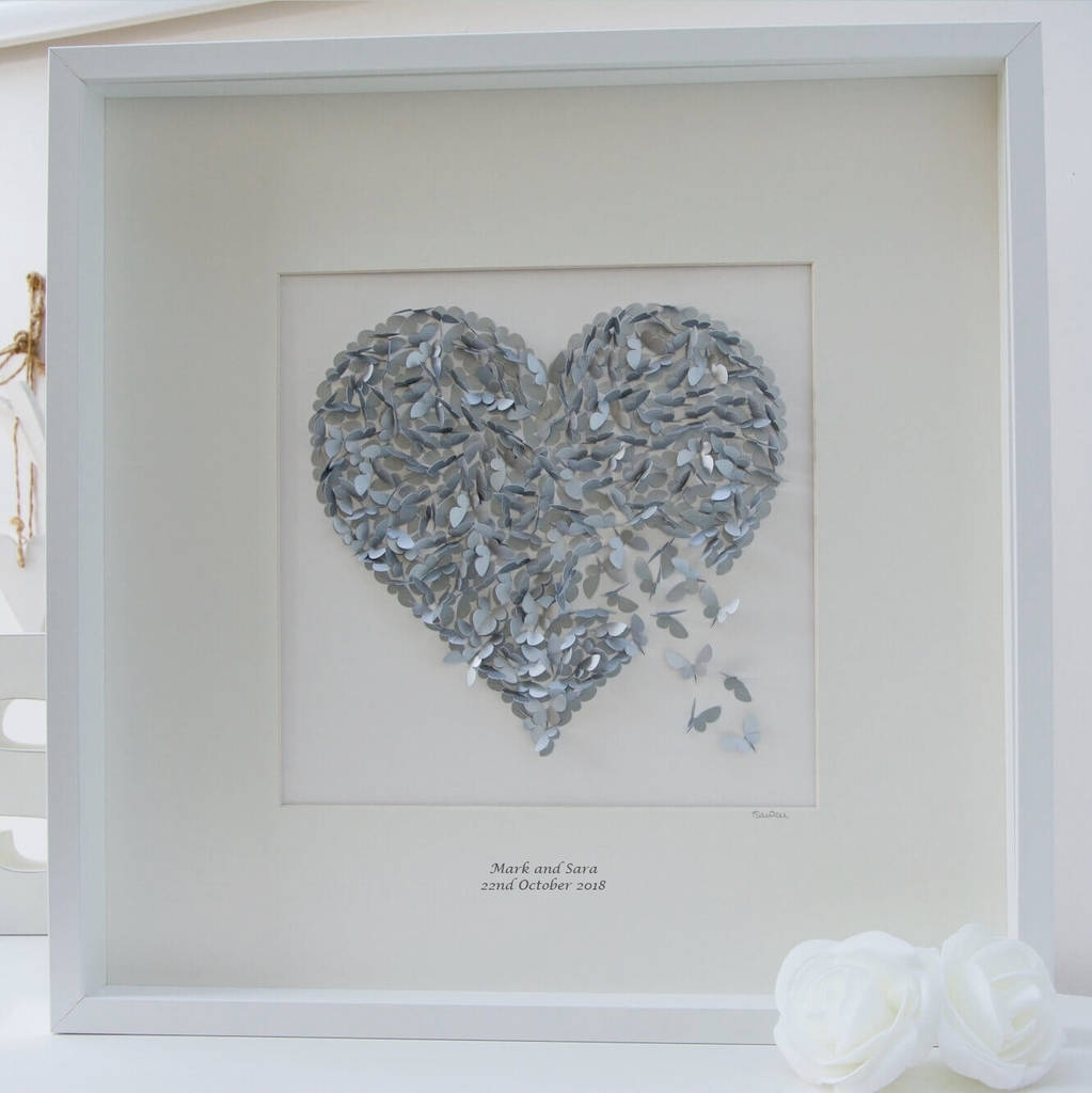 Silver Wedding Anniversary Butterfly Heart Wall Artinkywool Regarding Best And Newest Silver Wall Art (View 7 of 20)