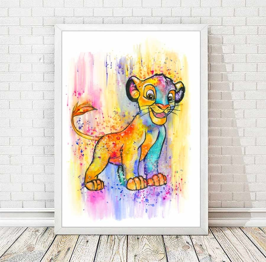 Simba Watercolor Abstract Print Disney Poster The Lion King Pertaining To Current Lion King Wall Art (View 10 of 20)