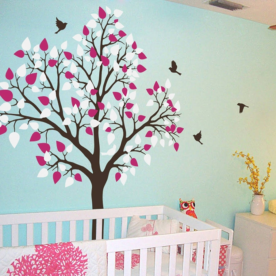 Single Tree With Birds Flying Wall Stickerwall Art With Most Popular Wall Tree Art (View 14 of 20)