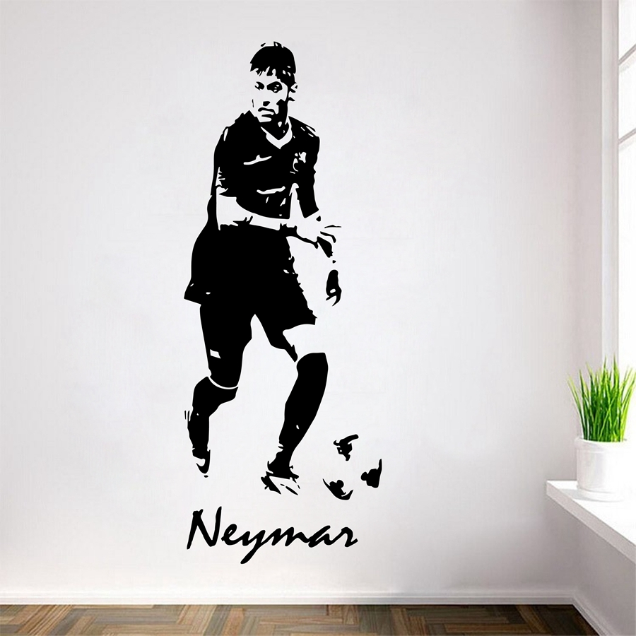 Soccer Footballer Neymar Vinyl Wall Decals Neymar Da Silva Wall Art For Most Current Soccer Wall Art (View 15 of 20)