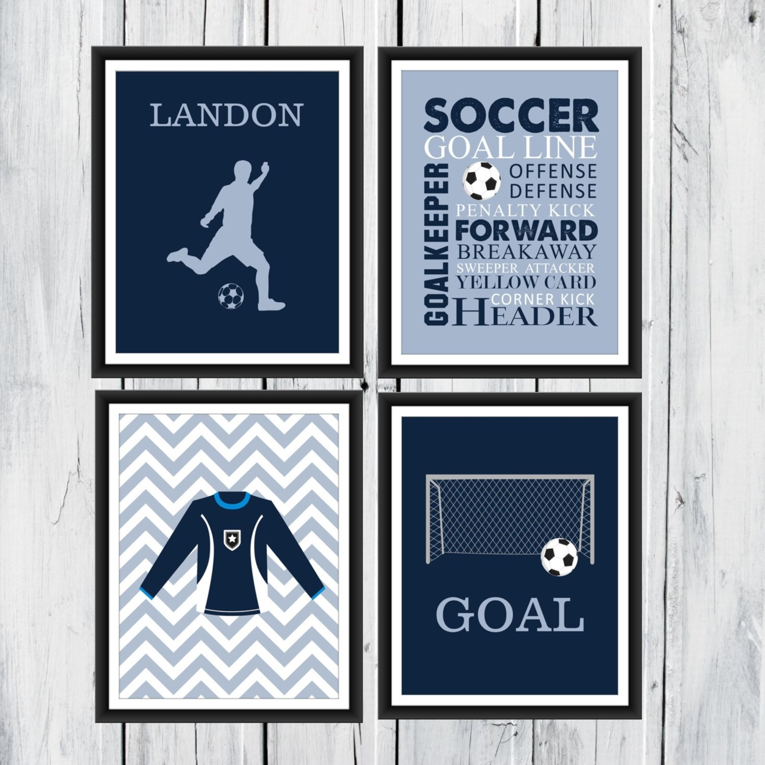 Soccer Wall Art – 4 Piece Set – Goal – Soccer Jersey – Soccer Word Pertaining To 2017 Soccer Wall Art (View 12 of 20)