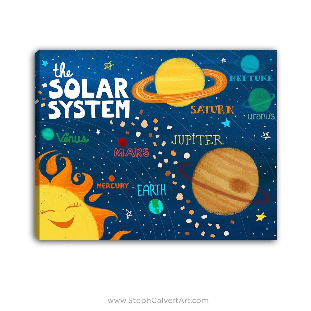 Solar System Wall Art – Steph Calvert Art Throughout Best And Newest Kids Wall Art (View 7 of 15)