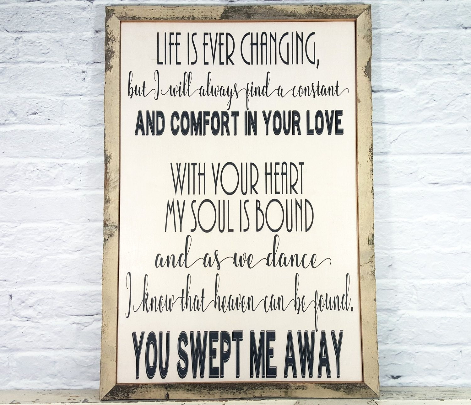 Song Lyric Art, Song Lyric Wall Art, Wood Sign, Wedding Song Lyric In Recent Song Lyric Wall Art (View 14 of 20)