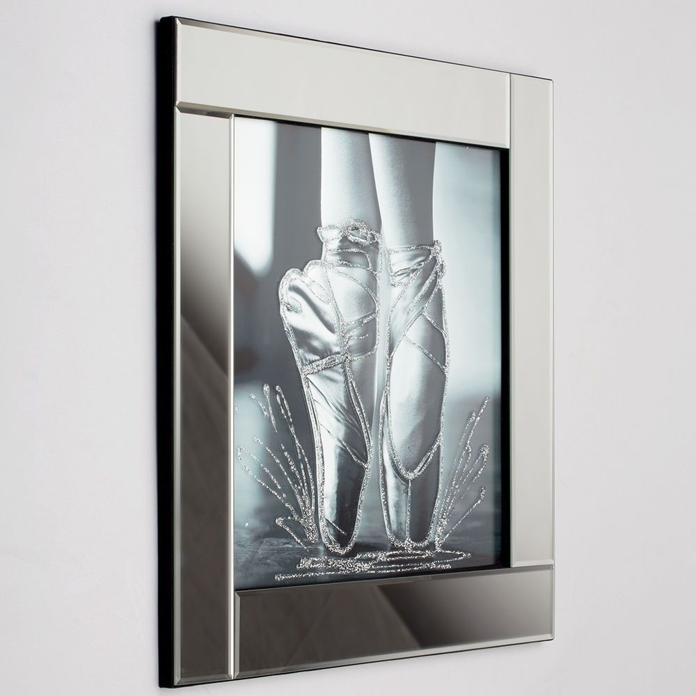 Square Mirror Picture Frame With Glittered Ballerina Shoes Within Current Mirrored Wall Art (Gallery 20 of 20)