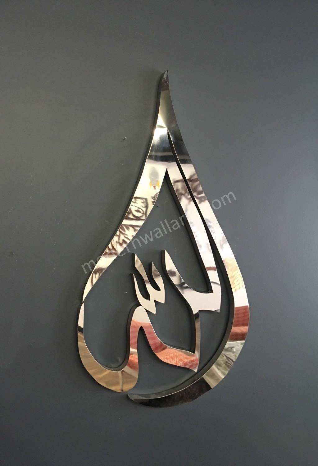 Stainless Steel Modern Allah Tear Drop With Led Option – Modern Wall Inside Best And Newest Islamic Wall Art (View 15 of 15)