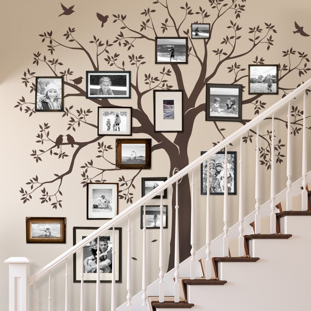 Staircase Family Tree Wall Decal – Tree Wall Decal, Organic Giant Inside Newest Family Tree Wall Art (View 9 of 15)
