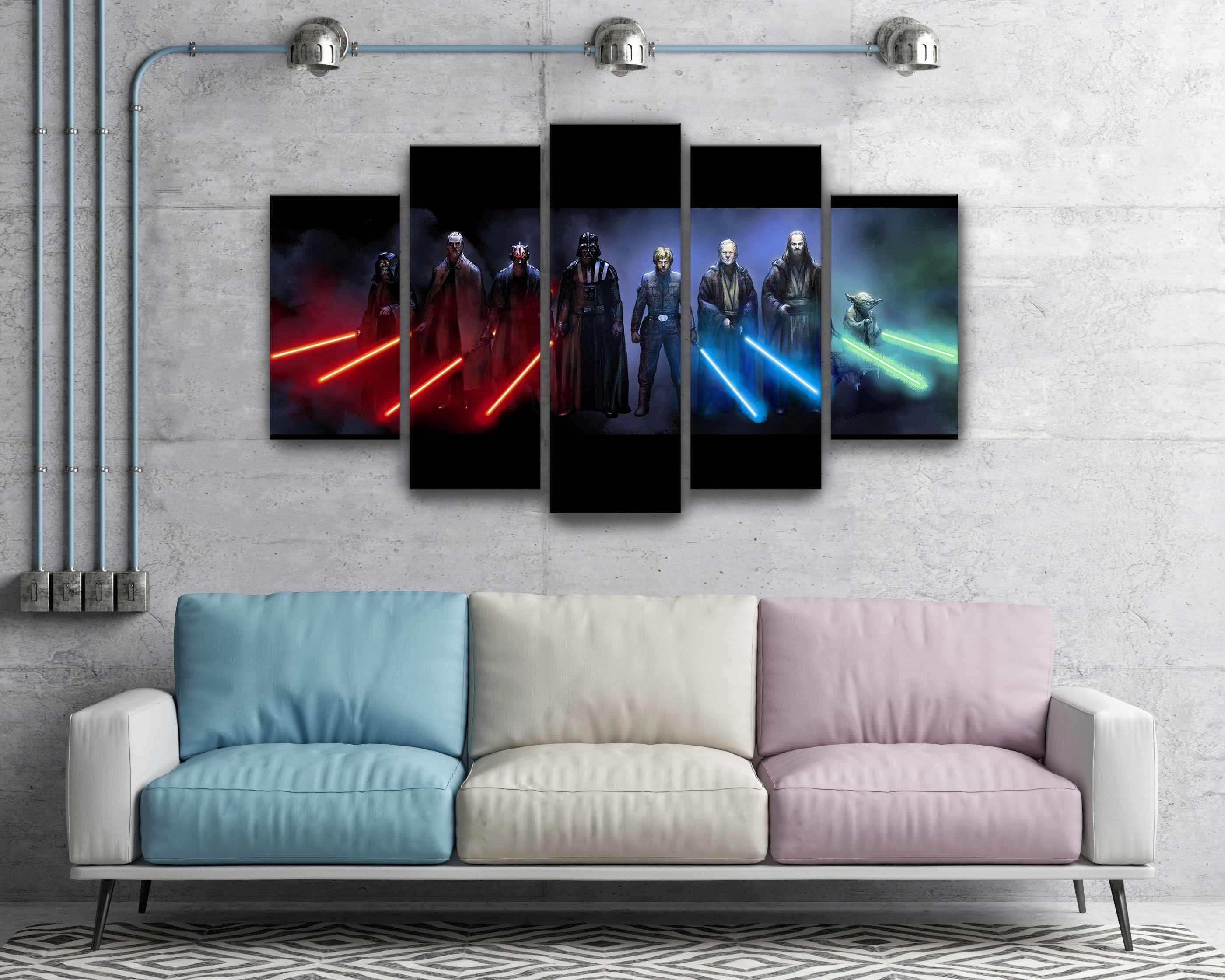 Star Wars Darth Vader Luke Skywalker Jedi And Sith Lightsaber Canvas With Regard To Most Popular Darth Vader Wall Art (View 15 of 20)