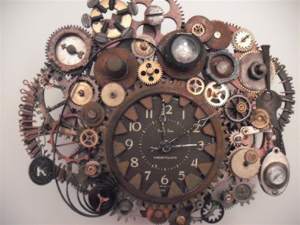 Steampunk Wall Clock Working Gears Photos On Diy Steampunk Wall Art Inside Most Recent Steampunk Wall Art (Gallery 6 of 20)