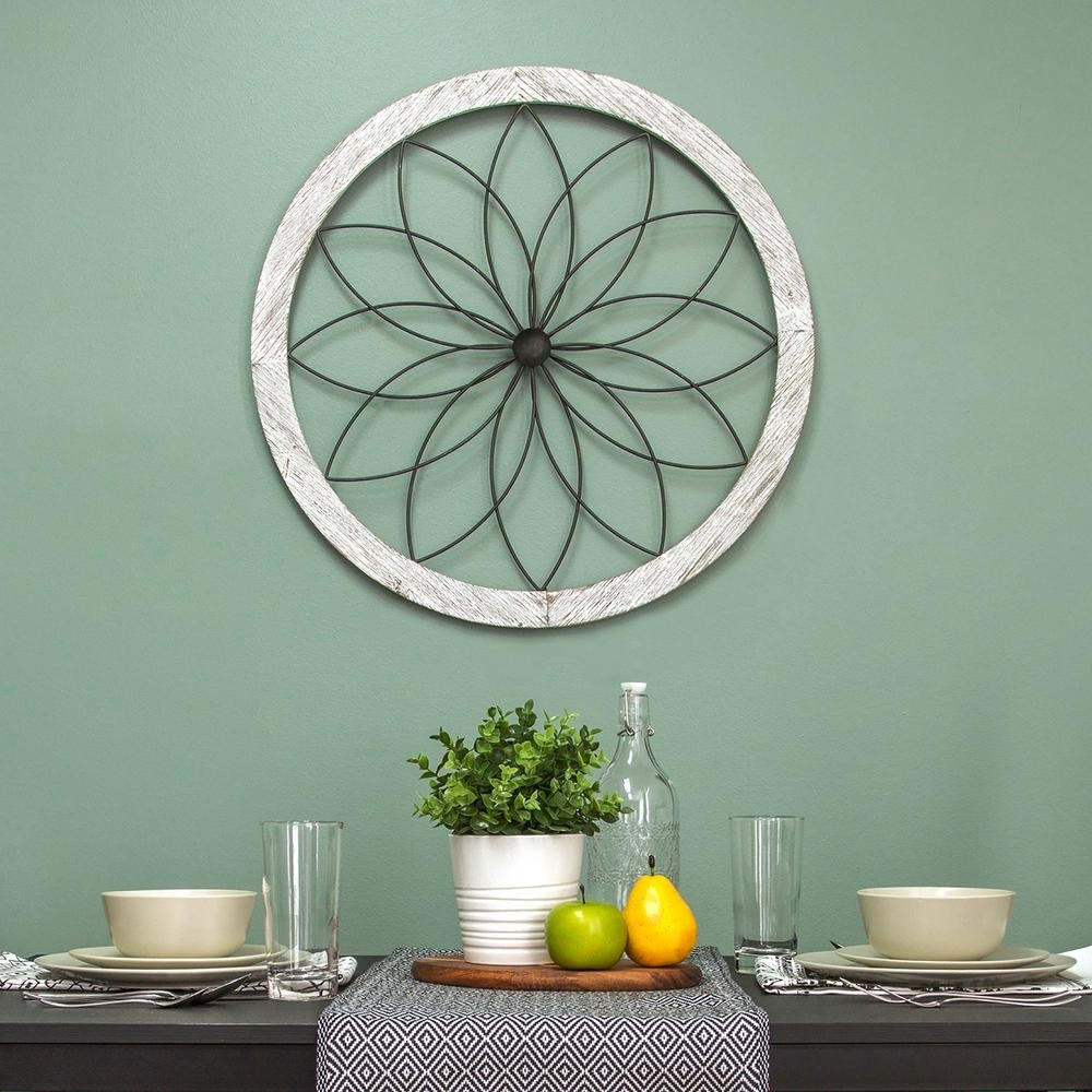 Stratton Home Decor Flower Metal And Wood Art Deco Wall Decor S09601 With Best And Newest Art Deco Wall Art (View 15 of 20)