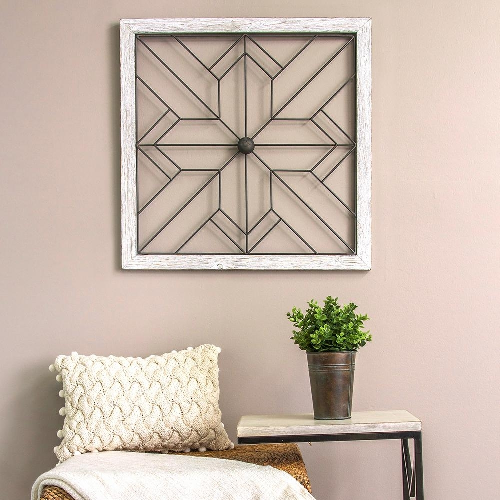 Stratton Home Decor Square Metal And Wood Art Deco Wall Decor S09600 In Latest Home Decor Wall Art (Gallery 5 of 20)
