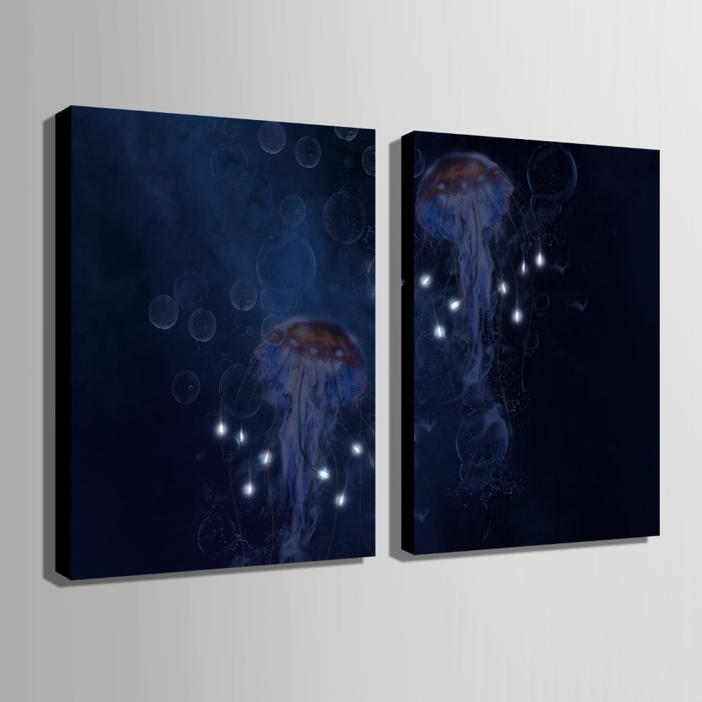 Stretched Canvas Prints Jellyfish Led Flashing Optical Fiber Print Pertaining To Best And Newest Led Wall Art (View 2 of 20)