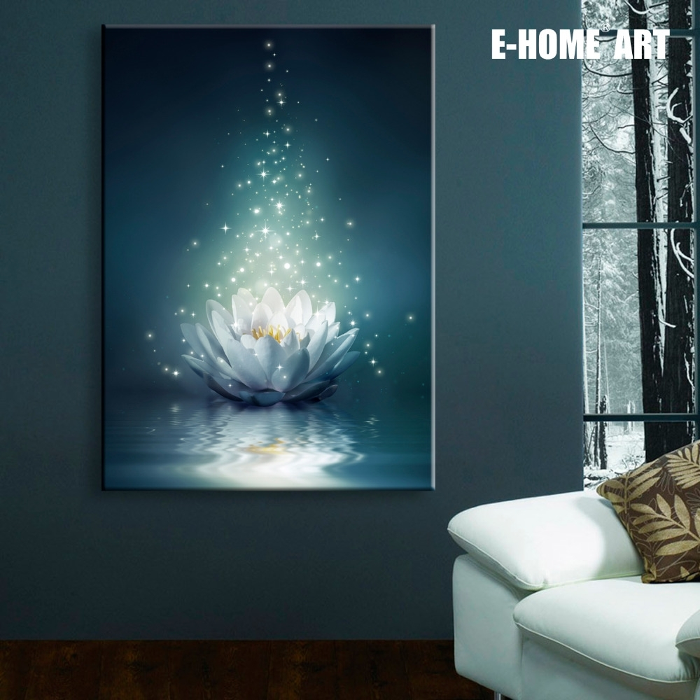 Stretched Canvas Prints White Lotus On The Water Led Interstellar For Newest Led Wall Art (Gallery 12 of 20)