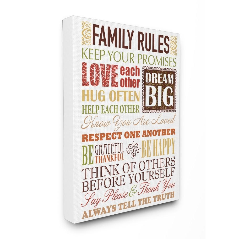 "Stupell Industries 16 In. X 20 In. ""family Rules Autumn Colors"" With Regard To Latest Family Rules Wall Art (Gallery 18 of 20)"