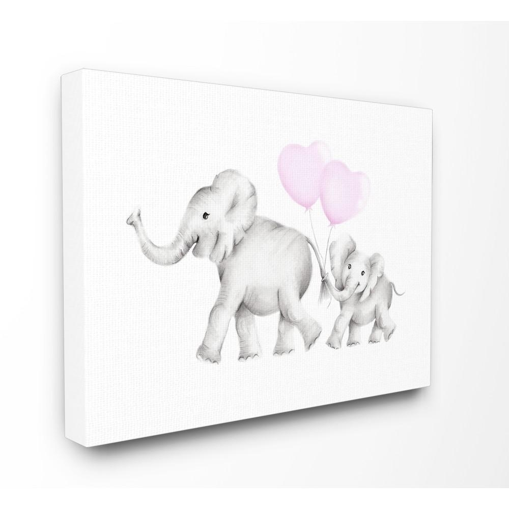 "Stupell Industries 24 In. X 30 In. ""mama And Baby Elephants"" With Regard To Most Recent Elephant Canvas Wall Art (Gallery 16 of 20)"