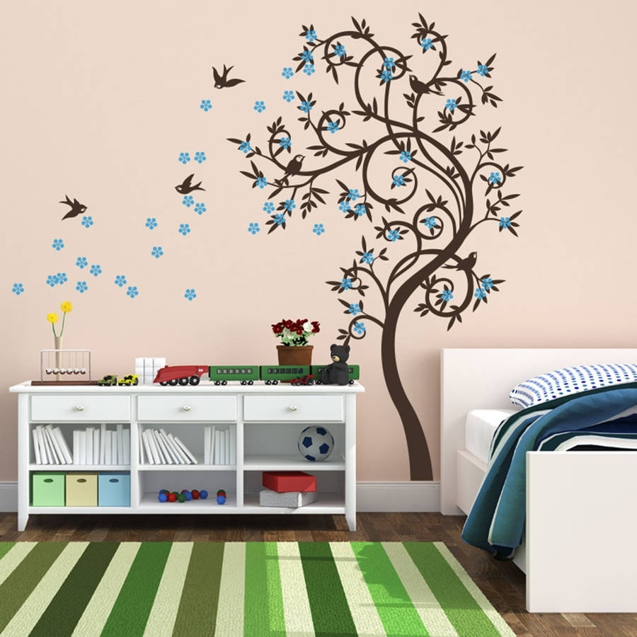 Stylish Curved Tree With Birds Wall Stickerwall Art Within Most Popular Bird Wall Art (View 1 of 15)