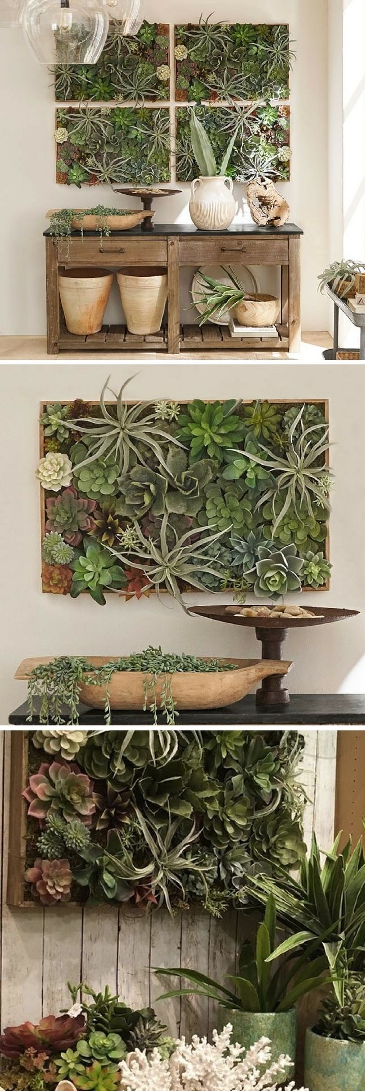 Succulent Wall | Planter | Wall Art | Faux Plants | Ad | Kitchen Regarding Most Up To Date Succulent Wall Art (View 18 of 20)