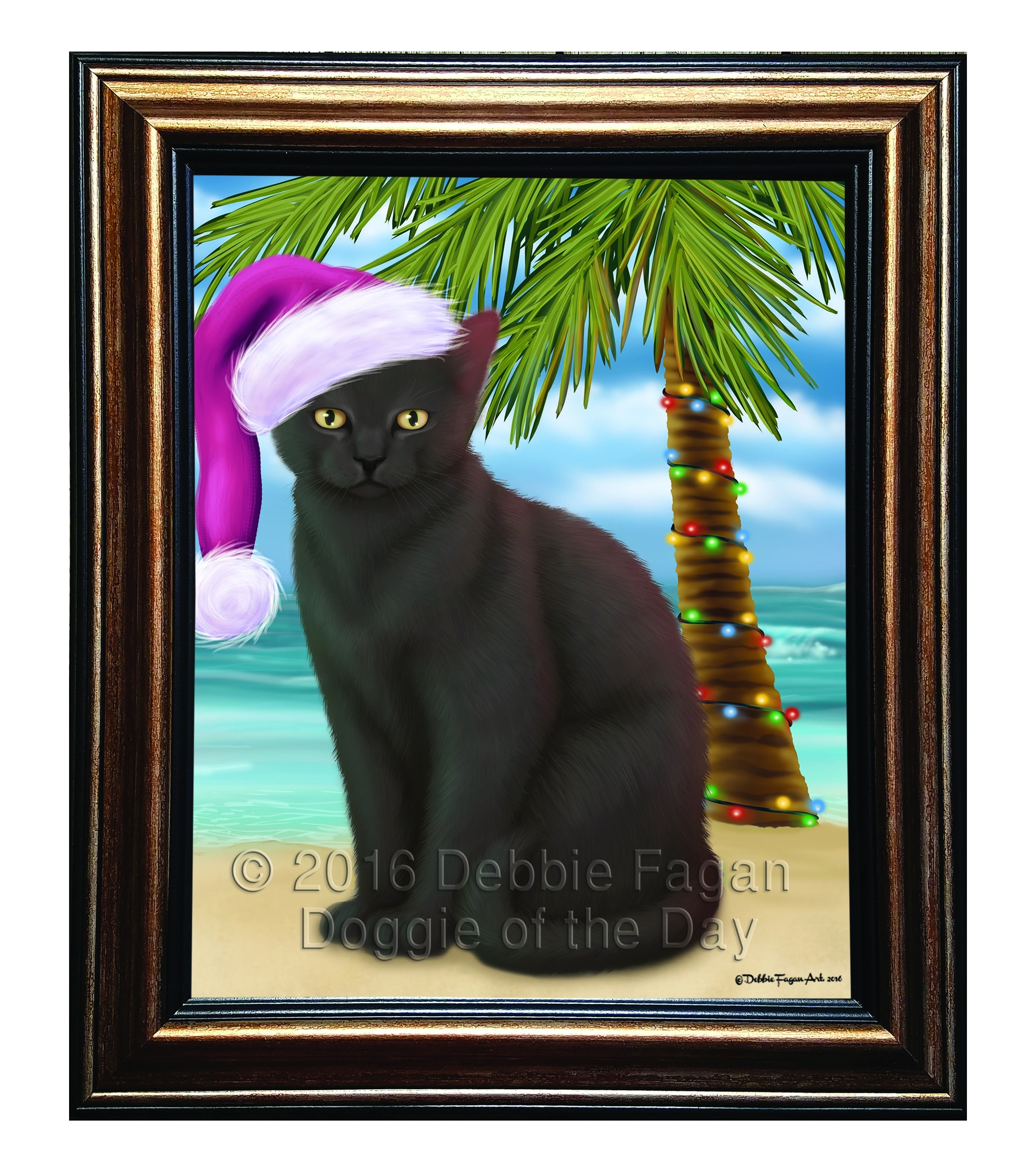 Summertime Happy Holidays Black Cat Framed Canvas Print Wall Art For Most Current Cat Canvas Wall Art (Gallery 14 of 20)