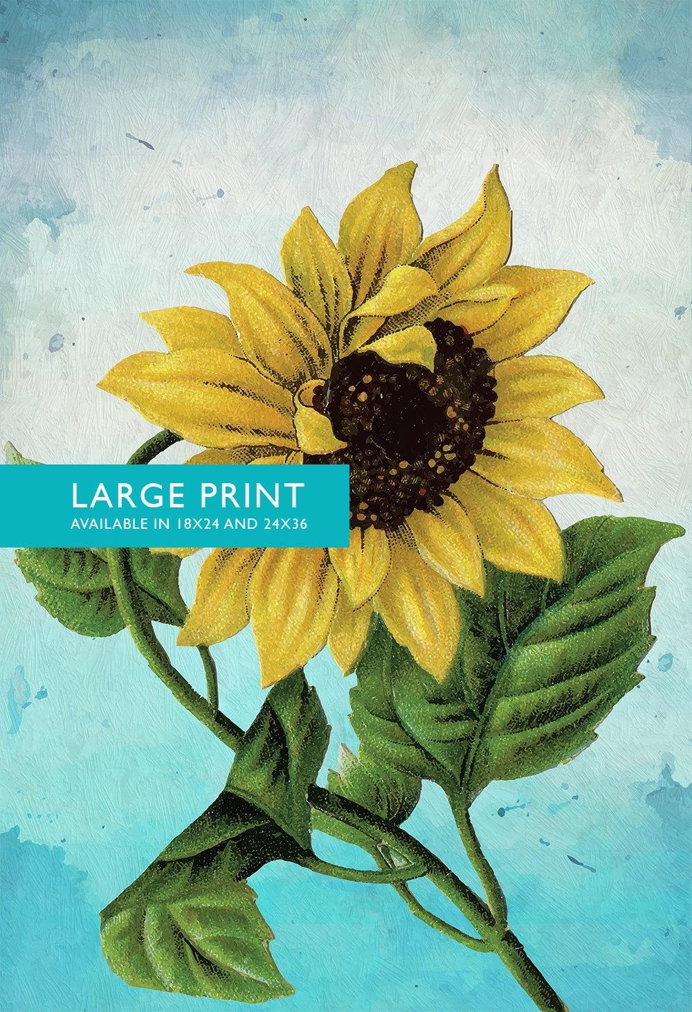 Sunflower Print Set Of Two Sunflowers Art Botanical Print Flower Intended For 2017 Sunflower Wall Art (View 13 of 20)