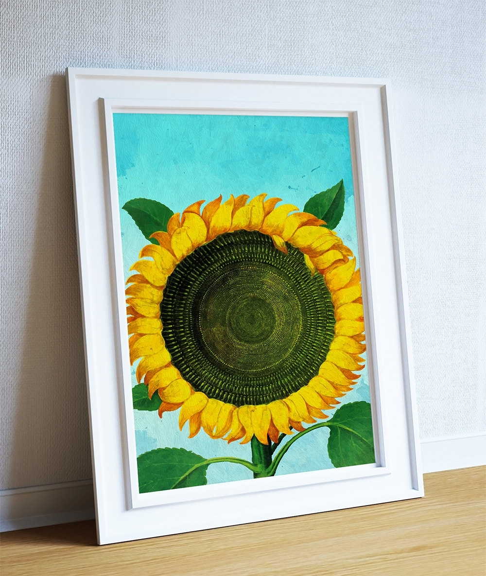 Sunflower Print Sunflowers Art Botanical Print Flower Kitchen Decor Intended For Most Popular Sunflower Wall Art (View 14 of 20)